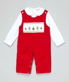 9447292ef5 Look at this Red Christmas Tree Overalls & Top - Infant & Toddler on #zulily