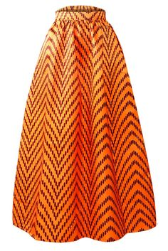 Jupe Longue Taille Haute Wax Africaine Orange Points Polka Zig-zag MB65008-1 – Modebuy.com