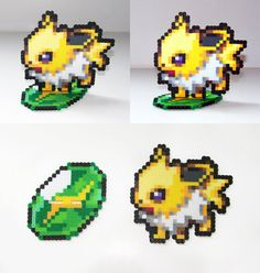 Perler Bead Jolteon with Thunderstone Stand by NerdyNoodleLabs, $17.00