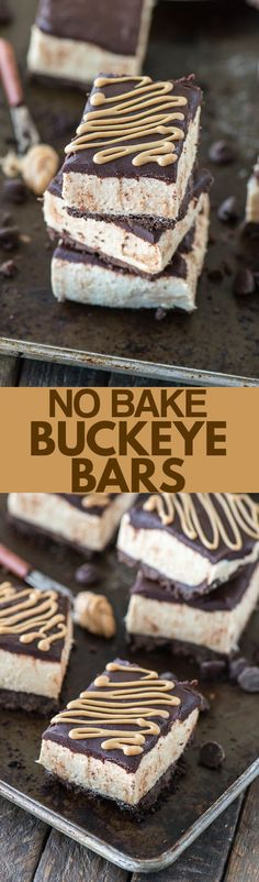 No bake buckeye bar recipe with a chocolate crust, creamy peanut butter filling, and topped with chocolate ganache. Serve them chilled or frozen!