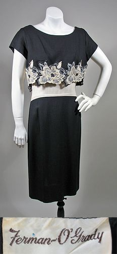 Vintage 1950s Black & White Rayon Summer Dress w/ Embroidered Flowers SZ S/M