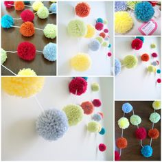 Celebrate & Party  Yarn Pom Pom Garland for by CupcakeWishesStore, $25.00
