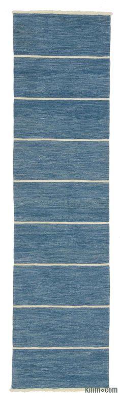 K0027814 Blue New Turkish Kilim Runner   Kilim Rugs, Overdyed Vintage Rugs, Hand-made Turkish Rugs, Patchwork Carpets by Kilim.com