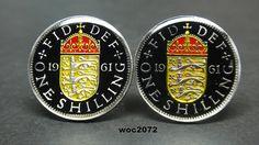 UK British coin cufflinks enamel shilling England by wowcoin, $38.00