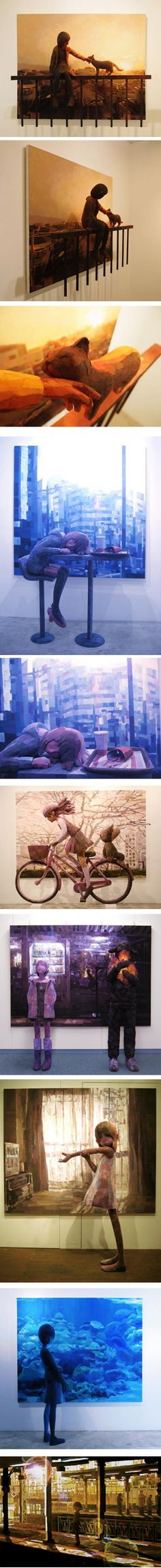 Shintaro Ohata  I would love to see these in person...look closely: a sculpture in front of a painting, both so lovely.