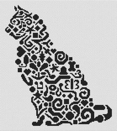 Tribal Cat Monochromatic Cross Stitch - White Willow Stitching Cross Stitch - (Powered by CubeCart)