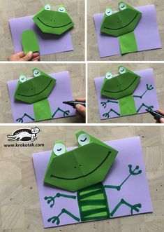 children activities, more than 2000 coloring pages Origami Frog, Origami And Kirigami, Educational Games For Kids, Children Activities, Art For Kids, Crafts For Kids, Arts And Crafts, Paper Art, Paper Crafts