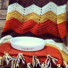vintage Pyrex & vintage crochet afghan--all for $6