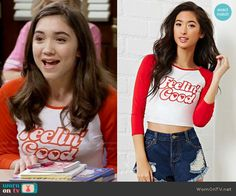 Forever 21 Feelin Good Graphic Crop Tee worn by Rowan Blanchard on Girl Meets World Riley Matthews, Fashion Tv, Girl Fashion, Fashion Outfits, Austin And Ally, Indie Outfits, Cool Outfits, Girl Meets World Riley, Beautiful Dresses