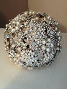 Pearl & Diamante Brooch Bouquet by WeddingBroochBouquet on Etsy, $195.00