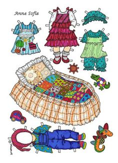 Karen`s Paper Dolls: Anne Sofie 1-2 Baby Paper Doll in Colours. Anne Sofie 1-2…