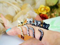 Womens Kitty Cat Ring Swarovski Crystals Adjustable by authfashion