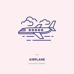 Airplane Line Icon Design - Modern Airplane Outline, Airplane Icon, Airplane Flying, Airplane Illustration, Line Illustration, Aviation Tattoo, Art Icon, Pictogram, Line Icon