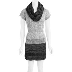 L.E.I. Juniors Scoop Neck Marled Sweater Dress with Scarf $14.88