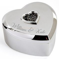 Personalised Silver Plated Crystal Heart Trinket Box  from Personalised Gifts Shop - ONLY £19.95