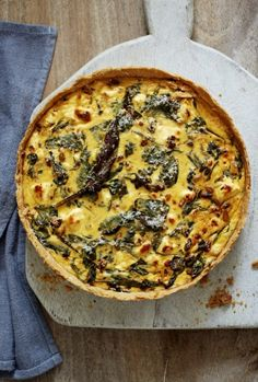 Spinach and feta tart with spelt pastry.