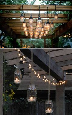 Wood and mason jars lighting are perfect for this cool backyard pergola.