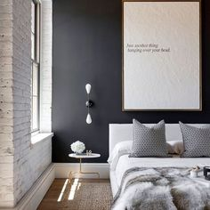 10 Instagram Interiors To Inspire A Room Redo #refinery29  http://www.refinery29.com/best-interior-instagrams#slide-1  Art doesn't need to be colorful or graphic to make a huge impact above a bed. ...