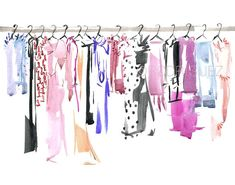 Glamorous Pink Wardrobe Watercolor Fashion por MarketteStudio