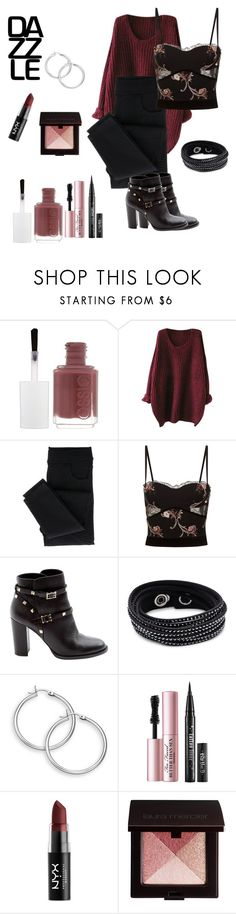 """Boysenberry"" by chauert ❤ liked on Polyvore featuring Essie, La Perla, Valentino, Swarovski, Too Faced Cosmetics, NYX and Laura Mercier"
