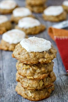 A traditional oatmeal cookie made into a fall favorite, these apple cookies with cream cheese frosting are soft and full of apple flavor. I hope you're not over apples already. Apple Pie Recipes, Easy Baking Recipes, Best Cookie Recipes, Sweet Recipes, Oatmeal Recipes, Apple Cookies, Pumpkin Cookies, Chocolate Chip Cookies, Oatmeal Cookies