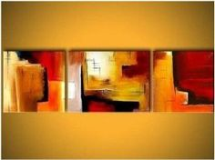 Red Abstract Art 3 Piece Wall Art Hand Painted Oil Painting Canvas Art Modern Art Abstract Art Home Decoration (Unstretched No Frame) Hand Painting Art, Large Painting, Oil Painting Abstract, Abstract Wall Art, Painting Canvas, Painting Gallery, 3 Piece Canvas Art, 3 Piece Wall Art, Wall Art Sets