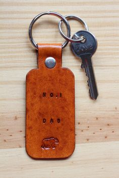 Handmade Brown Bear No.1 Dad Leather Keychain by Tina's Leather Crafts on Etsy.com.  Repin To Remember.