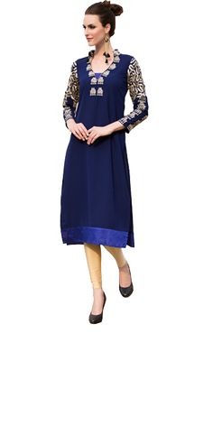 Sparkly Blue Cotton Straight Suit With Dupatta.