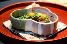 Charcoal-grilled Sanuki Beef Filet with Fuki Leaves Flavor Food and Chef Photos: Chef Seiji Yamamoto of RyuGin - Tokyo, Japan Beef Filet, Charcoal Grill, Tokyo Japan, Yamamoto, Grilling, Leaves, Cooking, Desserts, Photos