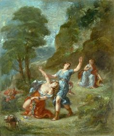 Orpheus and Eurydice, Spring from a Series of The Four Seasons, 1862 by Eugène Delacroix Art Print on Canvas Magnolia Box Size: Extra Large Google Art Project, Oil On Canvas, Canvas Art, Canvas Prints, Claude Monet, Painting Frames, Painting Prints, Wassily Kandinsky Paintings, Leonid Afremov Paintings