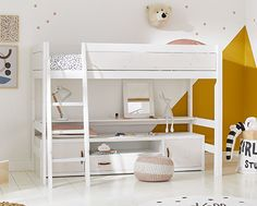 LIFETIME Kidsrooms | Rooms Crochet Pouf, Low Loft Beds, Long Shelf, Childrens Beds, Grey Wash, Corner Shelves, Kidsroom, Bed Design, Bunk Beds