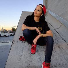 Kayla Phillips Rocking RPM TShirt SnapBack Denim Jeans Nike Football Trainers Sneakers Dope Streetwear  Pretty Girl Swag Urban
