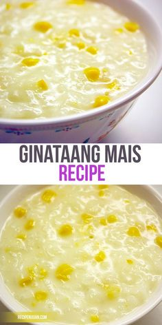 The ingredients to make Ginataang Mais are glutinous rice (kaning malagkit), raw or canned corn kernels, water, and sugar.
