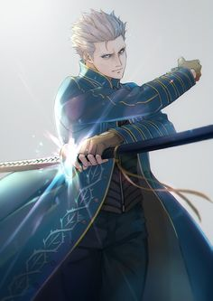 blue_coat blue_eyes closed_mouth coat devil_may_cry fingerless_gloves gloves highres holding holding_weapon katana male_focus sheath short_hair simple_background sword vergil weapon white_hair Girls Anime, Anime Guys, Video Game Characters, Anime Characters, Vergil Dmc, Devil May Cry 4, Hack And Slash, Dmc 5, Video Game Art