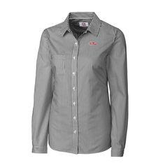 Ole Miss Rebels Cutter & Buck Women's Mini Bengal Stripe Button-Up Shirt - Charcoal