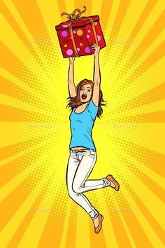 Buy Joyful Young Woman Jumping Up with a Gift by studiostoks on GraphicRiver. Joyful young woman jumping up with a gift. Pop Art Vector, Retro Vector, Desenho Pop Art, Pop Art Girl, Art Pop, Pop Art Women, Pop Art Wallpaper, Pop Art Illustration, Pop Characters