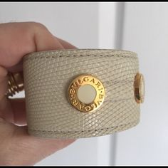 "Authentic Bvlgari cuff Gorgeous Bvlgari beige leather cuff ! A unique accessory that just a ""unique woman "" would have in her closet  Bulgari Jewelry Bracelets"