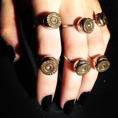 Bullet jewelry by Bobby Pin Jewelry. Paired with dark blue nails. #nails #jewelry #rings