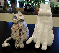 There's a Dragon in my Art Room: Opinions, please - construction of papier-mache 'fantastic felines' cats