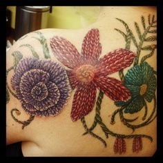 knitting tattoos for the ankle | tattoo ideas i love watercolor flowers forever