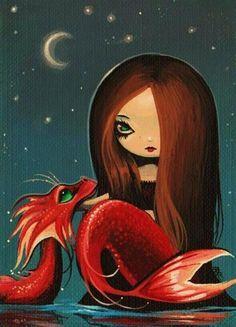 Art: Misty Moon by Artist Nico Niemi Mermaid Artwork, Mermaid Drawings, Art Drawings, Fantasy Mermaids, Mermaids And Mermen, Fantasy Paintings, Fantasy Art, Mermaid Coloring Pages, Fairytale Art