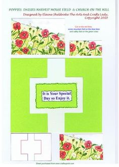 POPPIES DAISIES HARVEST MOUSE CHURCH ON THE HILL on Craftsuprint - Add To Basket!