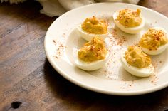 Pimento cheese deviled eggs - if you don't have pimento substitute with paprika powder and add some chopped green bell pepper to give it some crunch