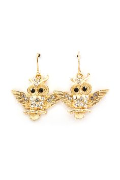 Crystal Snow Owl Earrings in Gold