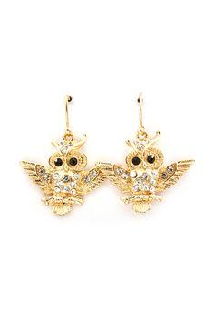 Crystal Snow Owl Earrings in Gold