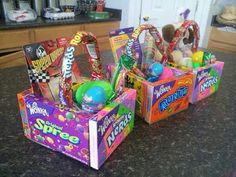 Edible Easter basket...movie theater boxed candy and nerds rope candy