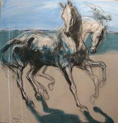 chevaux à la plage par Jean-Louis Sauvat | artiste  horse painting