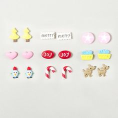 Cute Cartoon Style Winter Stud Earrings Set of 9: candy canes, penguins, presents & more