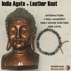 AFFIRMATION:  I will manifest only good fortune and luck.  GOOD FORTUNE: India Agate Yoga Mala Bead Bracelet