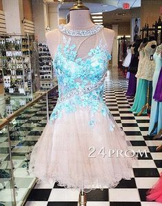 A-line applique round neckline Short Prom Dresses, Homecoming Dresses – 24prom #prom #promdress #promdresses #homecoming #dress #dresses #prom2015